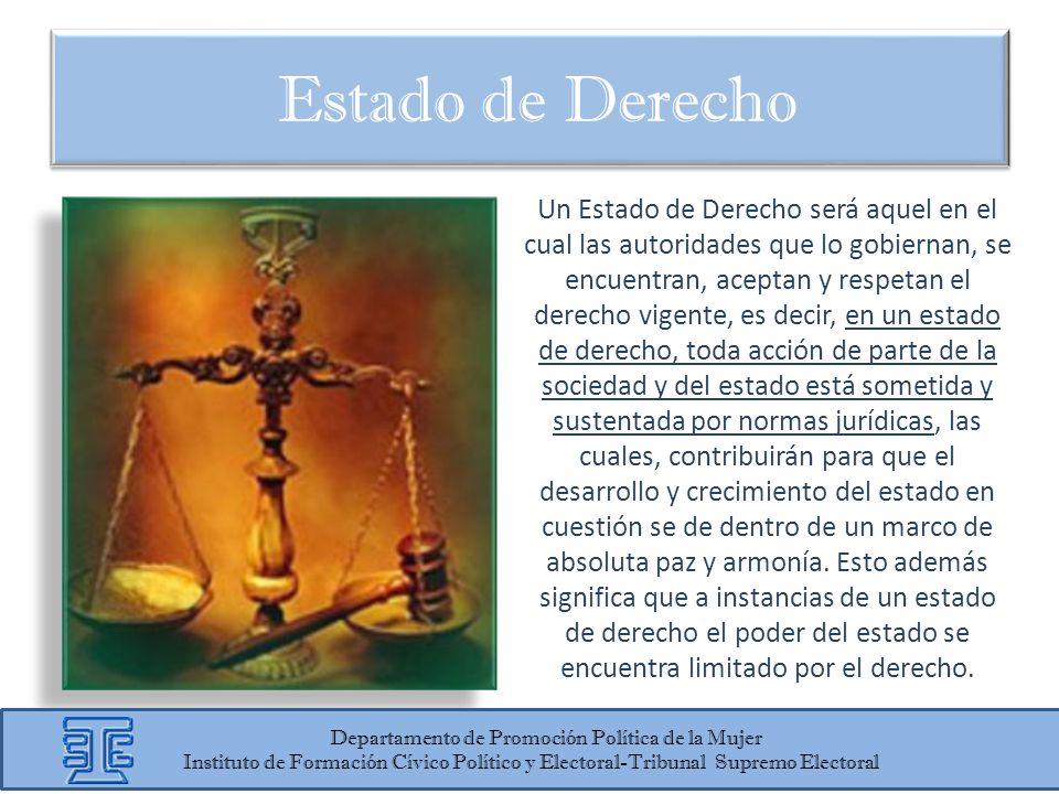 Un Estado de Derecho será aquel en el cual las autoridades que lo gobiernan, se encuentran, aceptan y respetan el derecho vigente, es decir, en un est
