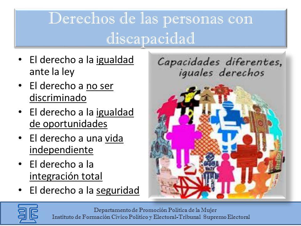El derecho a la igualdad ante la ley El derecho a no ser discriminado El derecho a la igualdad de oportunidades El derecho a una vida independiente El