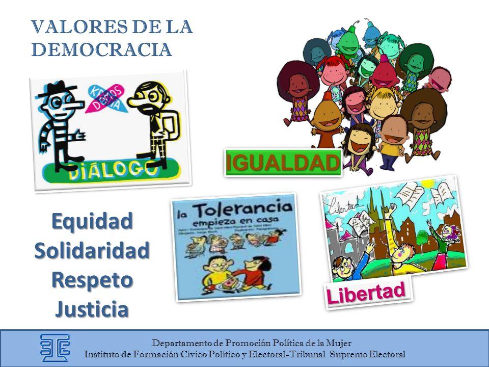 IGUALDADIGUALDAD VALORES DE LA DEMOCRACIA LibertadLibertad Departamento de Promoción Política de la Mujer Instituto de Formación Cívico Político y Ele