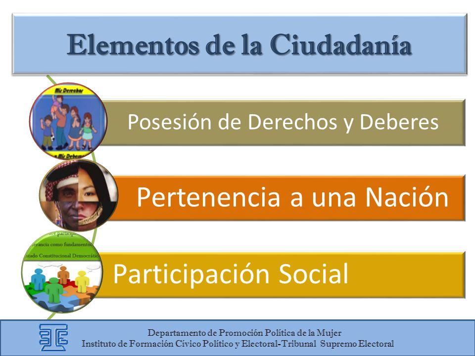 Posesión de Derechos y Deberes Pertenencia a una Nación Participación Social Elementos de la Ciudadanía Departamento de Promoción Política de la Mujer
