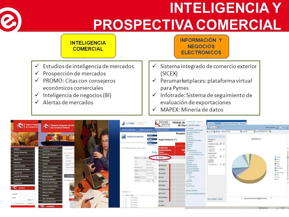 INTELIGENCIA Y PROSPECTIVA COMERCIAL INFORMACIÓN Y NEGOCIOS ELECTRÓNICOS INTELIGENCIA COMERCIAL Estudios de inteligencia de mercados Prospección de me