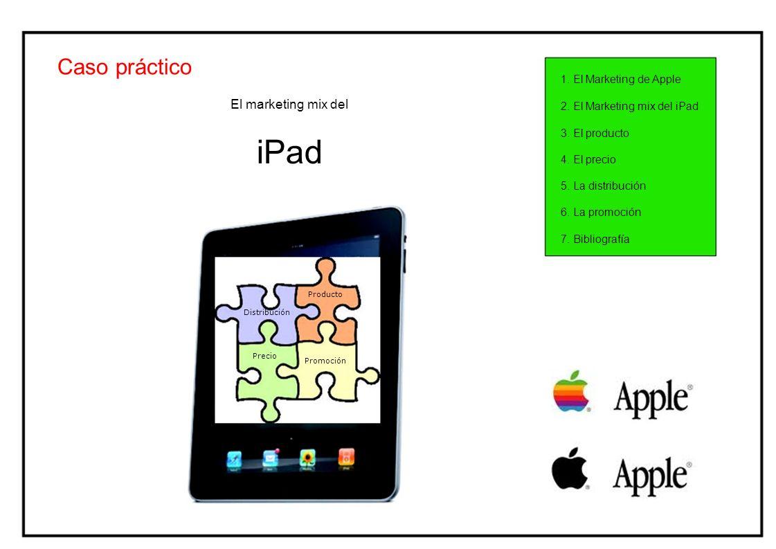 Caso práctico 1. El Marketing de Apple El marketing mix del iPad Producto Distribución Precio 2. El Marketing mix del iPad 3. El producto 4. El precio