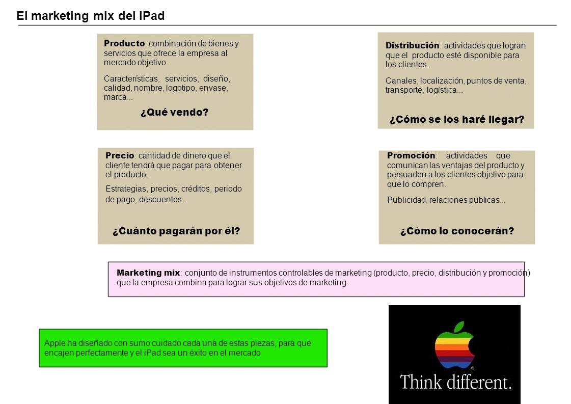 El marketing mix del iPad Producto : combinación de bienes y Distribución : actividades que logran servicios que ofrece la empresa al que el producto