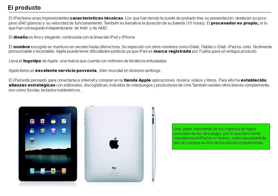 El producto El iPad tiene unas impresionantes características técnicas. Los que han tenido la suerte de probarlo tras su presentación, destacan su poc