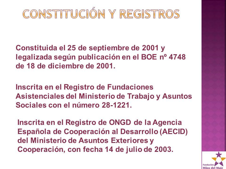 Inscrita en el Registro de Fundaciones Asistenciales del Ministerio de Trabajo y Asuntos Sociales con el número 28-1221.