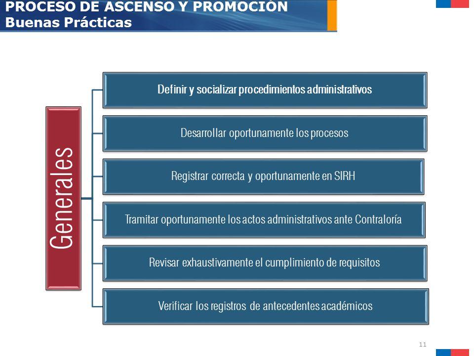 11 PROCESO DE ASCENSO Y PROMOCIÓN Buenas Prácticas Generales Definir y socializar procedimientos administrativos Desarrollar oportunamente los proceso