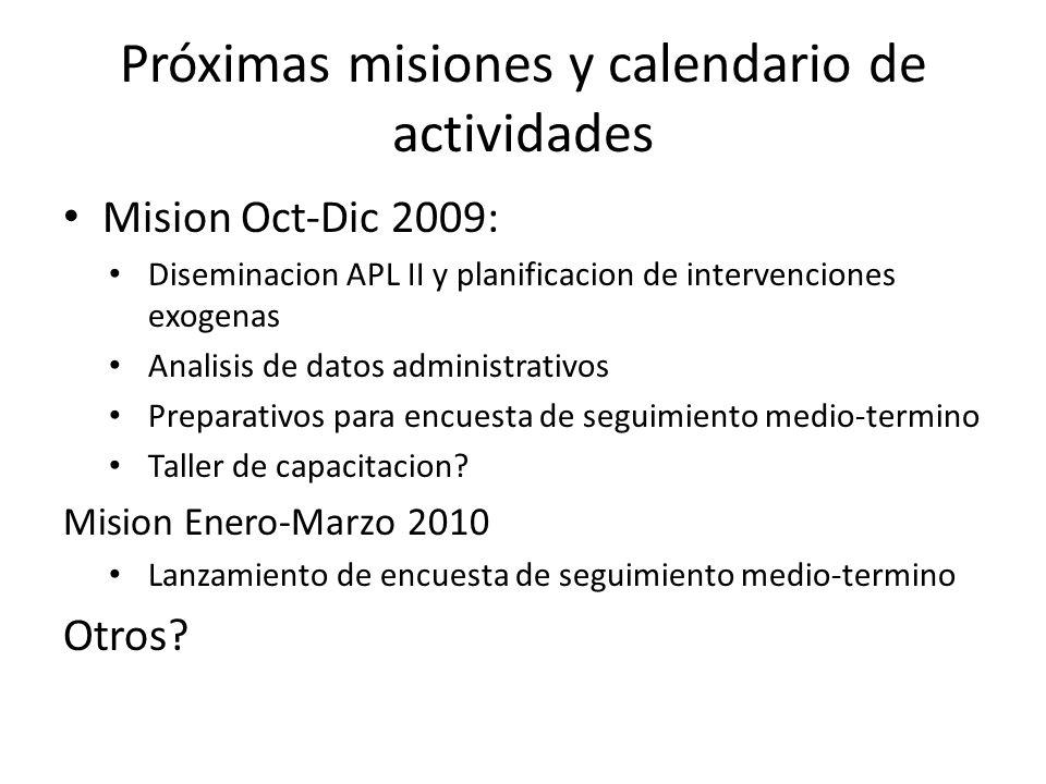 Próximas misiones y calendario de actividades Mision Oct-Dic 2009: Diseminacion APL II y planificacion de intervenciones exogenas Analisis de datos administrativos Preparativos para encuesta de seguimiento medio-termino Taller de capacitacion.