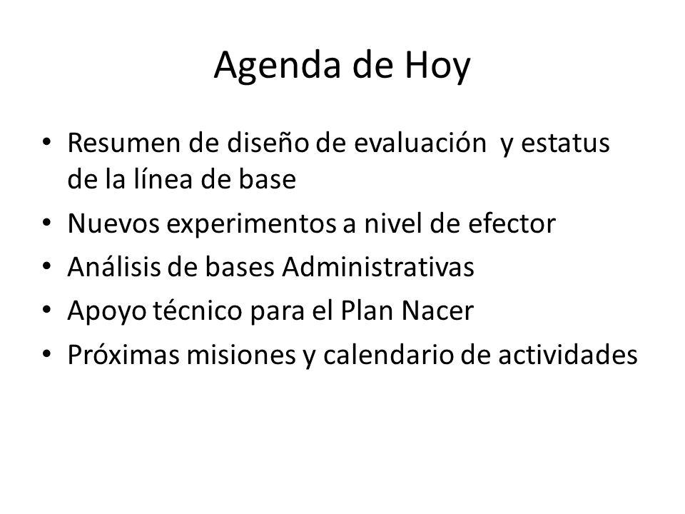 Agenda de Hoy Resumen de diseño de evaluación y estatus de la línea de base Nuevos experimentos a nivel de efector Análisis de bases Administrativas Apoyo técnico para el Plan Nacer Próximas misiones y calendario de actividades