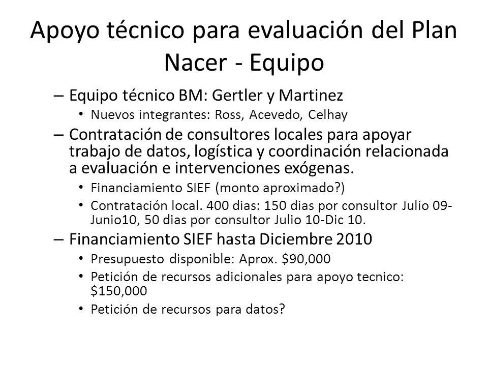 Apoyo técnico para evaluación del Plan Nacer - Equipo – Equipo técnico BM: Gertler y Martinez Nuevos integrantes: Ross, Acevedo, Celhay – Contratación