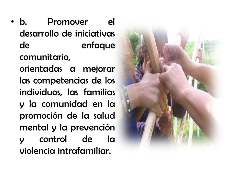 b. Promover el desarrollo de iniciativas de enfoque comunitario, orientadas a mejorar las competencias de los individuos, las familias y la comunidad