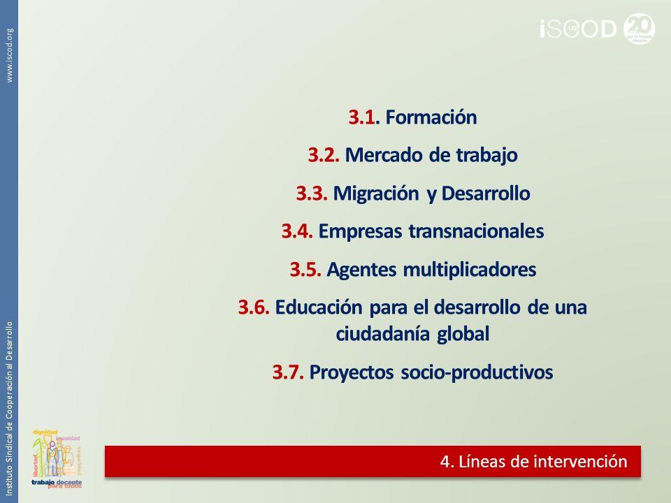 4. Líneas de intervención 3.1. Formación 3.2. Mercado de trabajo 3.3. Migración y Desarrollo 3.4. Empresas transnacionales 3.5. Agentes multiplicadore
