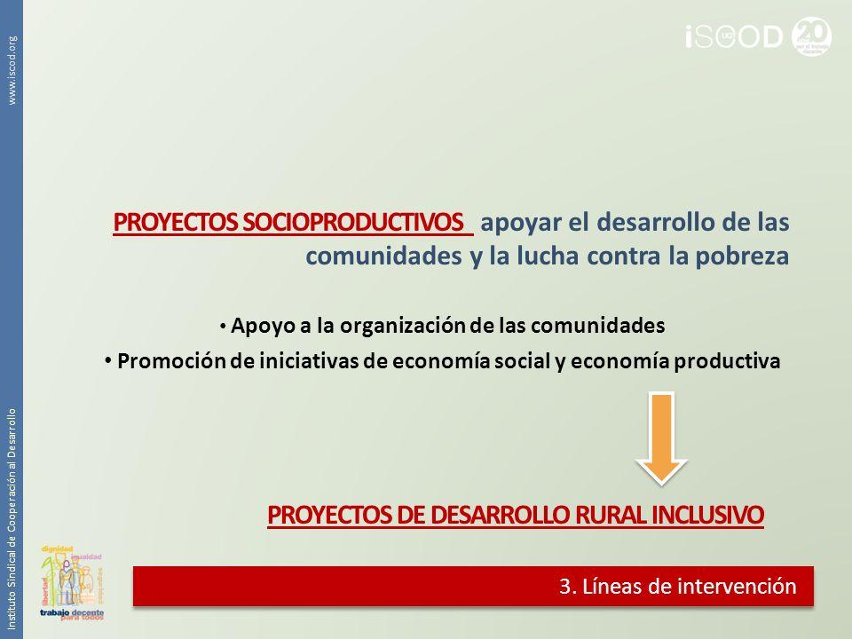 3. Líneas de intervención PROYECTOS SOCIOPRODUCTIVOS apoyar el desarrollo de las comunidades y la lucha contra la pobreza Apoyo a la organización de l