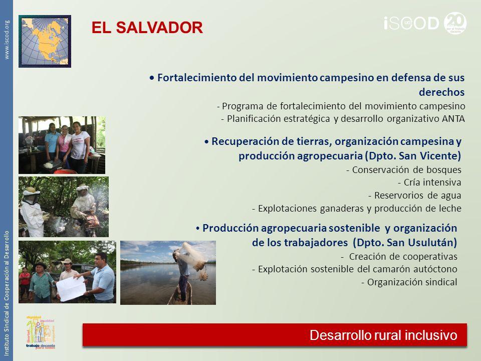 Cooperación agraria Instituto Sindical de Cooperación al Desarrollo www.iscod.org Desarrollo rural inclusivo Recuperación de tierras, organización cam