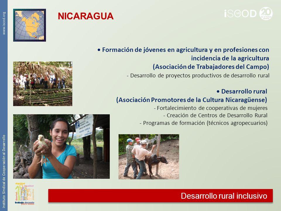Desarrollo rural inclusivo Instituto Sindical de Cooperación al Desarrollo www.iscod.org Formación de jóvenes en agricultura y en profesiones con inci