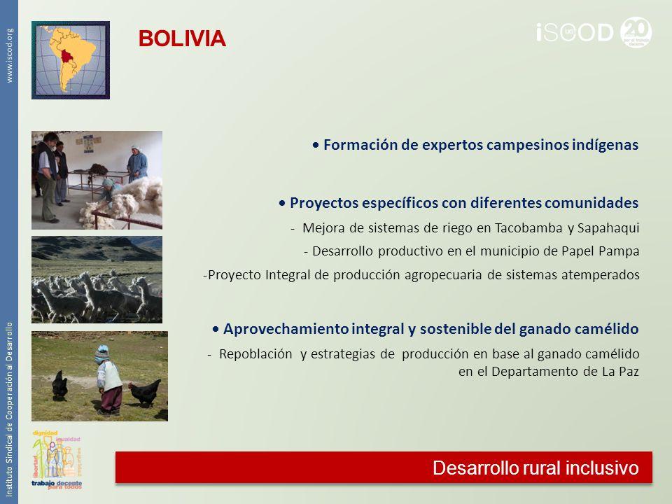 Desarrollo rural inclusivo Instituto Sindical de Cooperación al Desarrollo www.iscod.org Formación de expertos campesinos indígenas Proyectos específi