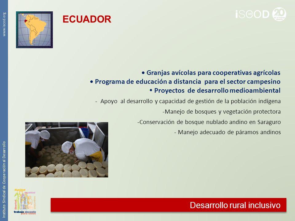 Desarrollo rural inclusivo Instituto Sindical de Cooperación al Desarrollo www.iscod.org Granjas avícolas para cooperativas agrícolas Programa de educ