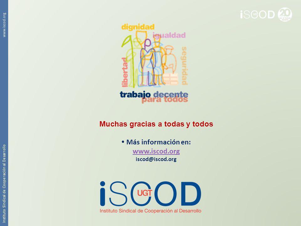Instituto Sindical de Cooperación al Desarrollo www.iscod.org Muchas gracias a todas y todos Más información en: www.iscod.org iscod@iscod.org