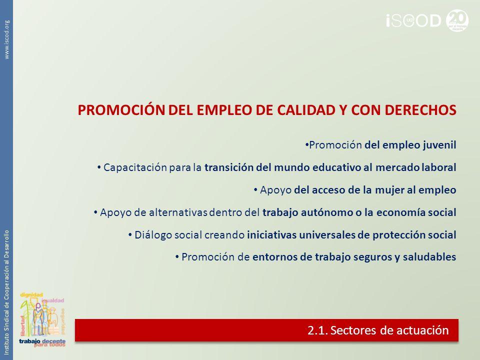 2.1. Sectores de actuación Promoción del empleo juvenil Capacitación para la transición del mundo educativo al mercado laboral Apoyo del acceso de la