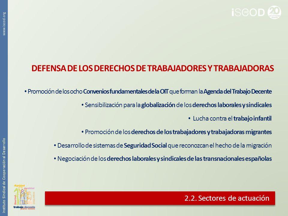 2.2. Sectores de actuación DEFENSA DE LOS DERECHOS DE TRABAJADORES Y TRABAJADORAS Promoción de los ocho Convenios fundamentales de la OIT que forman l