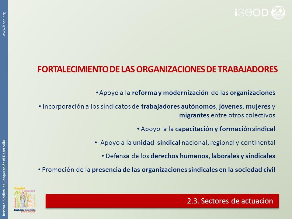 2.3. Sectores de actuación Apoyo a la reforma y modernización de las organizaciones Incorporación a los sindicatos de trabajadores autónomos, jóvenes,