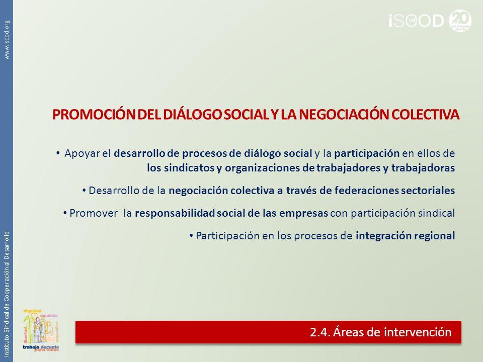 2.4. Áreas de intervención Apoyar el desarrollo de procesos de diálogo social y la participación en ellos de los sindicatos y organizaciones de trabaj