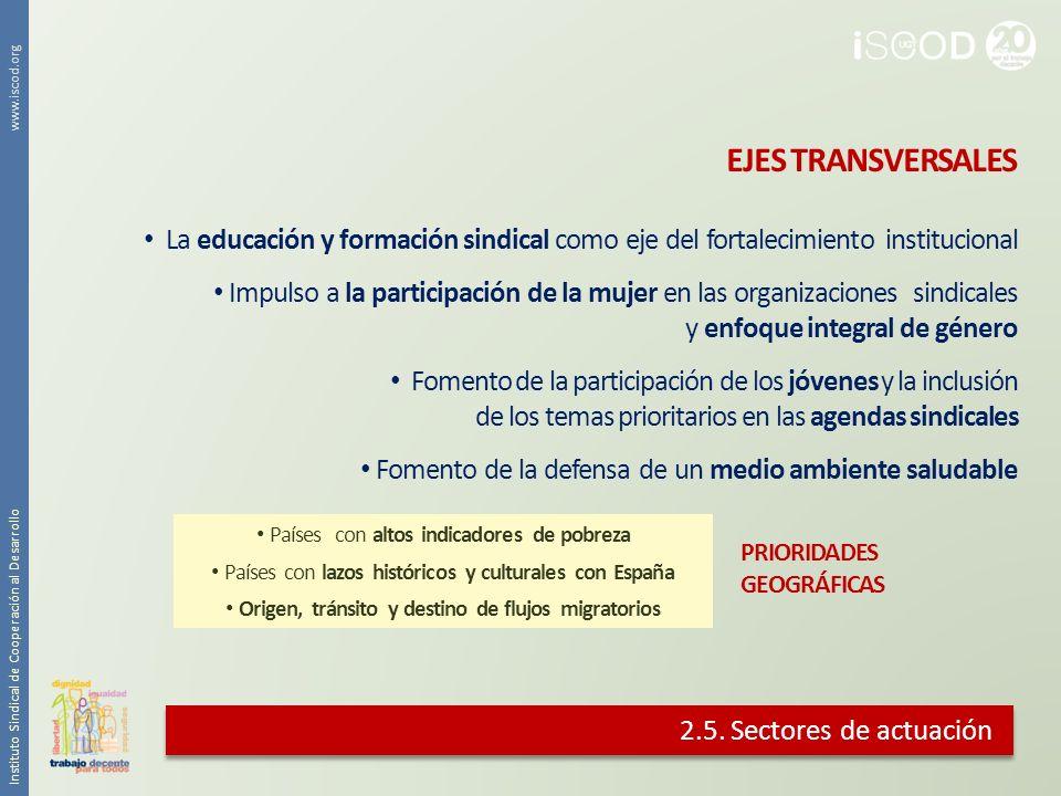 2.5. Sectores de actuación La educación y formación sindical como eje del fortalecimiento institucional Impulso a la participación de la mujer en las