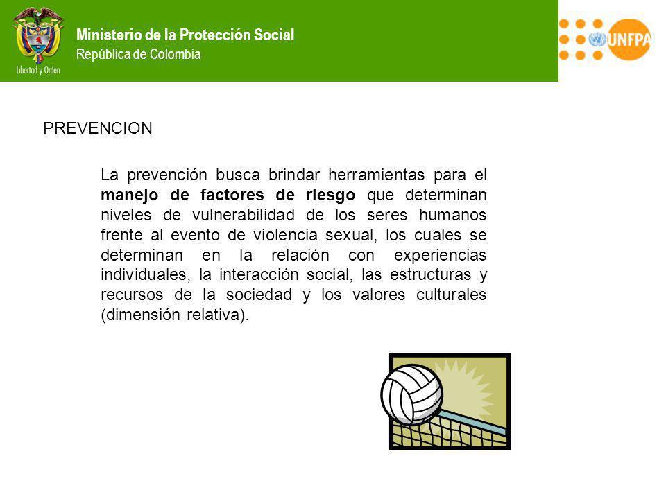 Ministerio de la Protección Social República de Colombia PREVENCION La prevención busca brindar herramientas para el manejo de factores de riesgo que