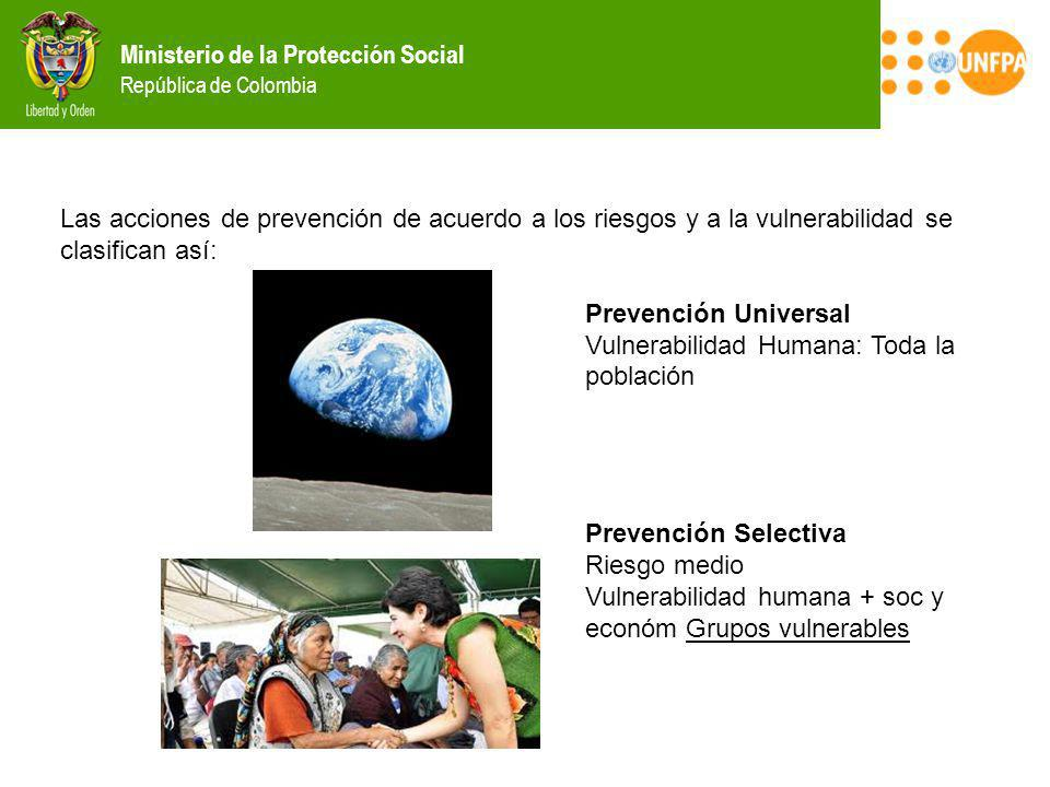 Ministerio de la Protección Social República de Colombia Las acciones de prevención de acuerdo a los riesgos y a la vulnerabilidad se clasifican así: