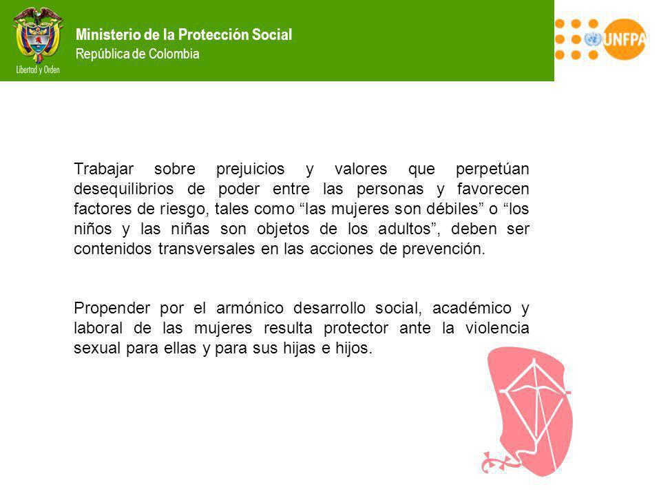 Ministerio de la Protección Social República de Colombia Trabajar sobre prejuicios y valores que perpetúan desequilibrios de poder entre las personas