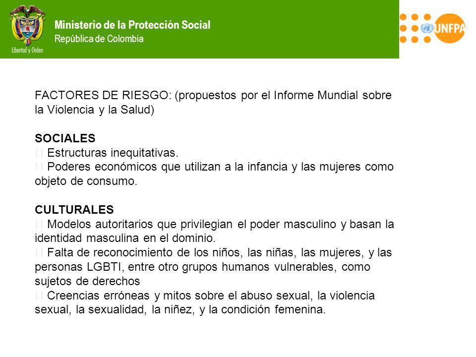 Ministerio de la Protección Social República de Colombia FACTORES DE RIESGO: (propuestos por el Informe Mundial sobre la Violencia y la Salud) SOCIALE