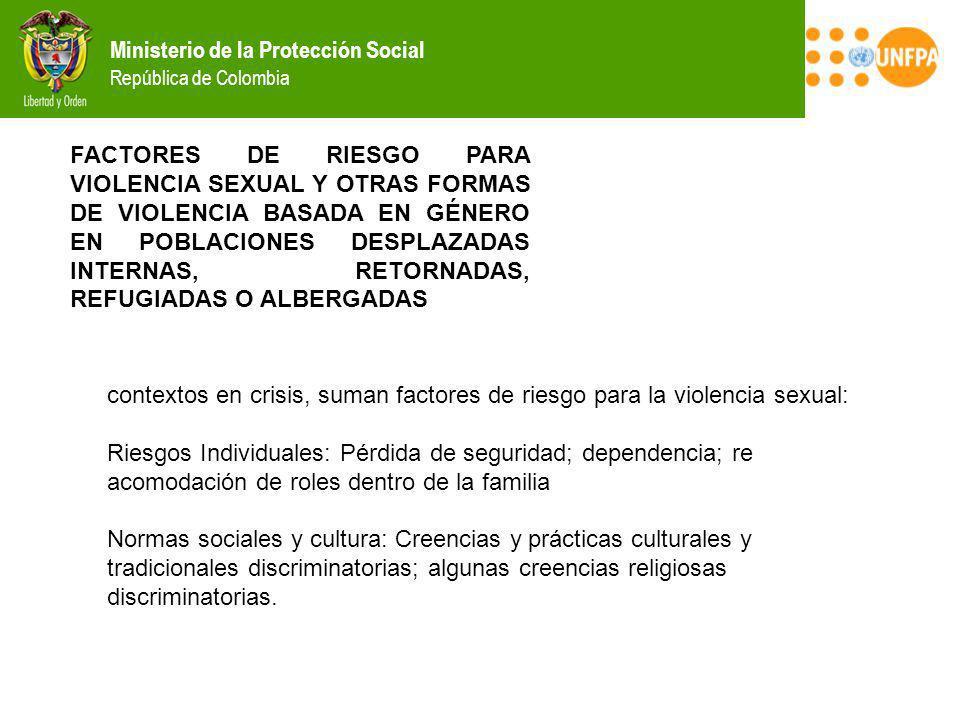 Ministerio de la Protección Social República de Colombia FACTORES DE RIESGO PARA VIOLENCIA SEXUAL Y OTRAS FORMAS DE VIOLENCIA BASADA EN GÉNERO EN POBL