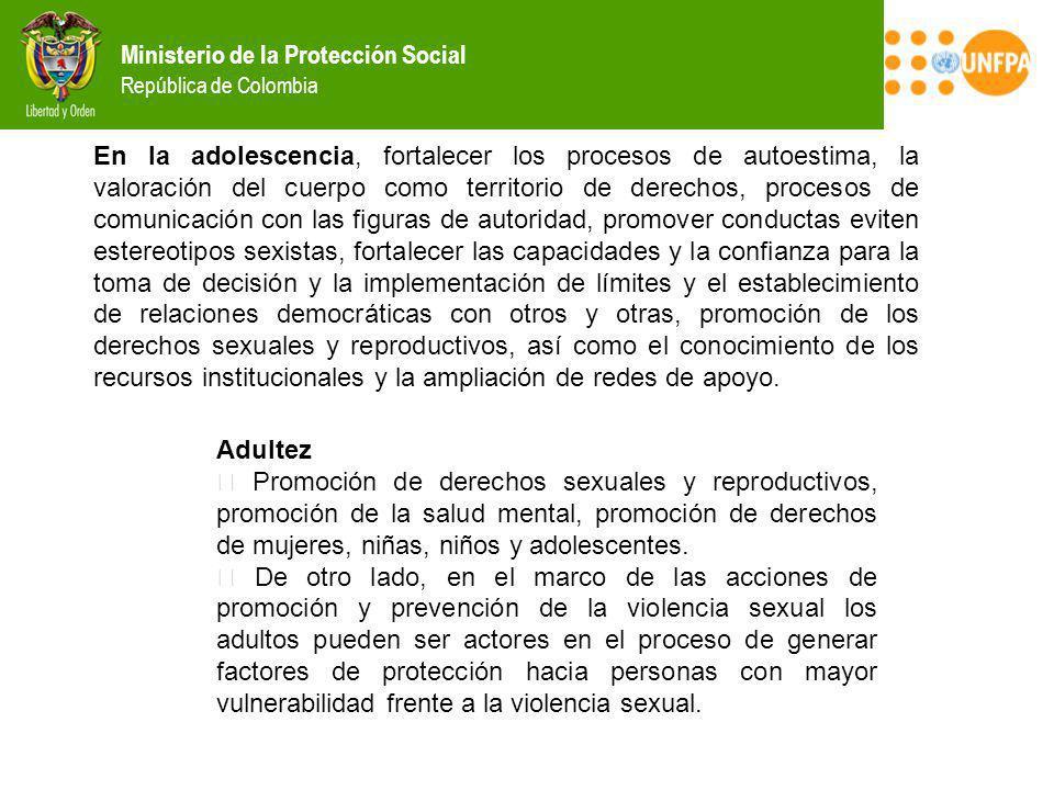 Ministerio de la Protección Social República de Colombia En la adolescencia, fortalecer los procesos de autoestima, la valoración del cuerpo como terr