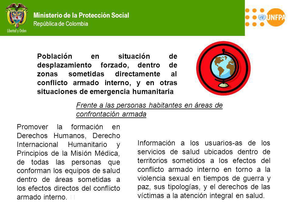 Ministerio de la Protección Social República de Colombia Población en situación de desplazamiento forzado, dentro de zonas sometidas directamente al c