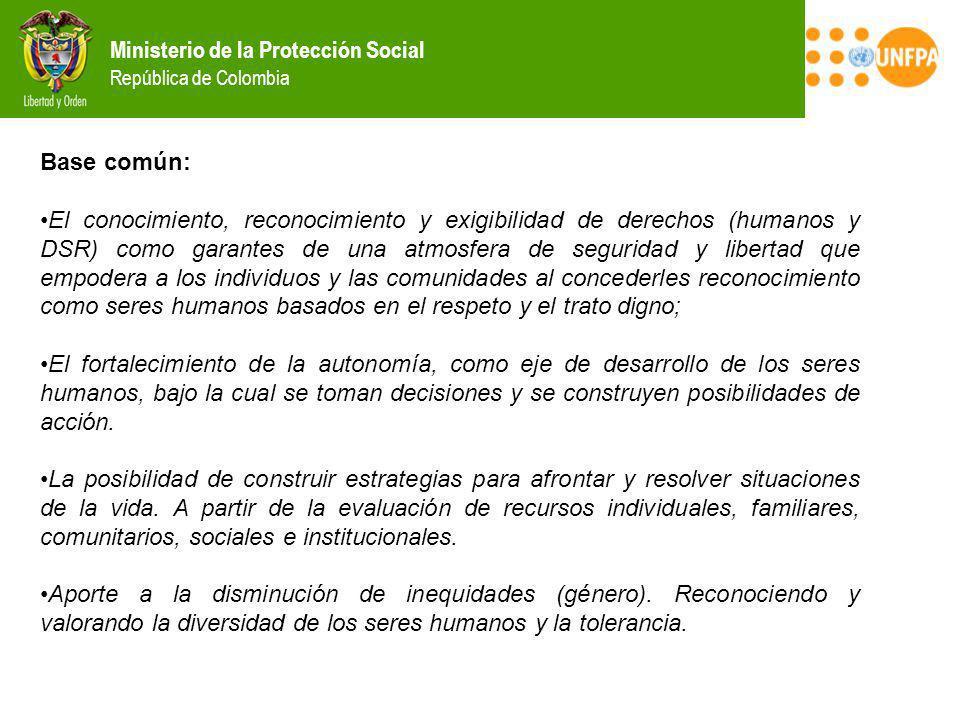 Ministerio de la Protección Social República de Colombia Base común: El conocimiento, reconocimiento y exigibilidad de derechos (humanos y DSR) como g
