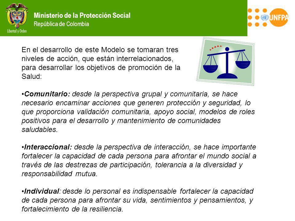Ministerio de la Protección Social República de Colombia En el desarrollo de este Modelo se tomaran tres niveles de acción, que están interrelacionado