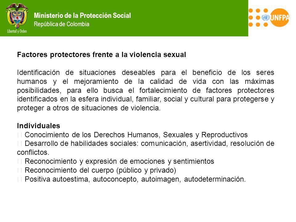 Ministerio de la Protección Social República de Colombia Factores protectores frente a la violencia sexual Identificación de situaciones deseables par