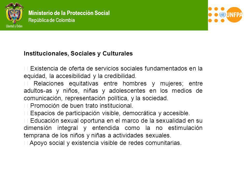 Ministerio de la Protección Social República de Colombia Institucionales, Sociales y Culturales Existencia de oferta de servicios sociales fundamentad