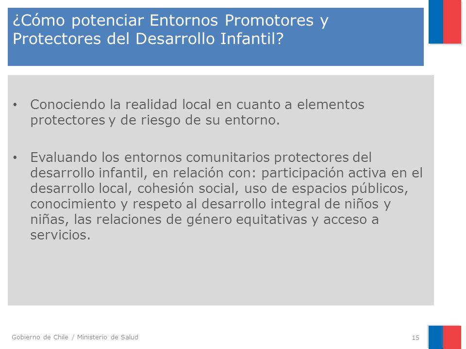 Gobierno de Chile / Ministerio de Salud ¿Cómo potenciar Entornos Promotores y Protectores del Desarrollo Infantil? Conociendo la realidad local en cua