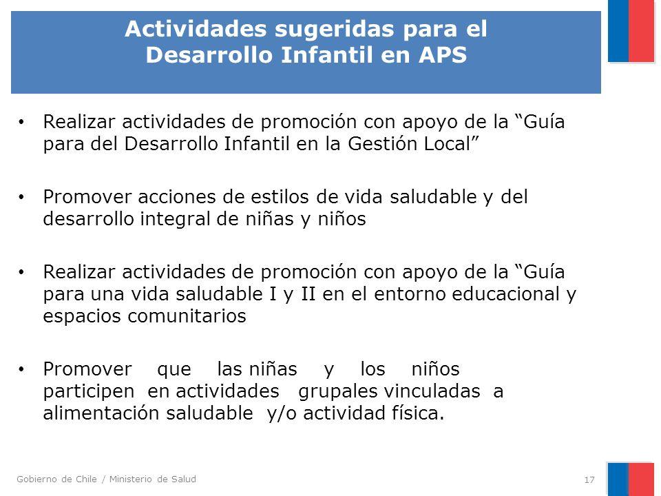 Gobierno de Chile / Ministerio de Salud Actividades sugeridas para el Desarrollo Infantil en APS 17 Realizar actividades de promoción con apoyo de la