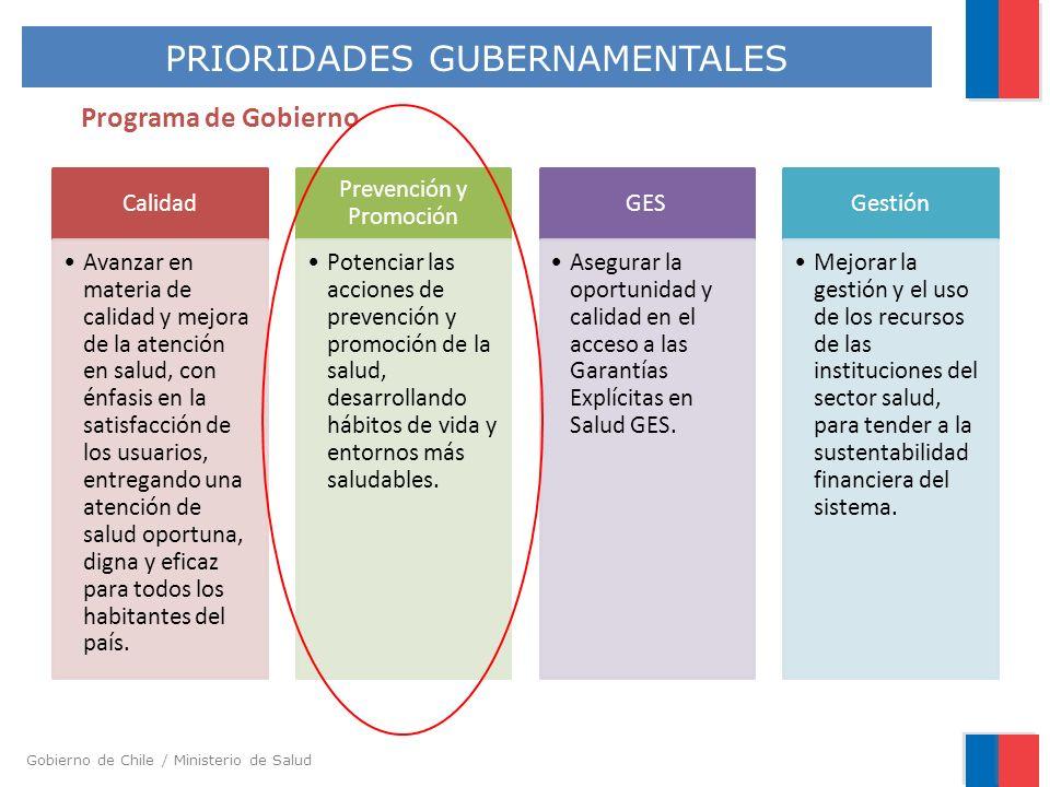 Gobierno de Chile / Ministerio de Salud Programa de Gobierno Calidad Avanzar en materia de calidad y mejora de la atención en salud, con énfasis en la