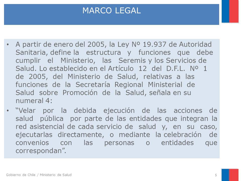 Gobierno de Chile / Ministerio de Salud A partir de enero del 2005, la Ley Nº 19.937 de Autoridad Sanitaria, define la estructura y funciones que debe