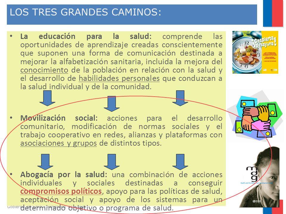 Gobierno de Chile / Ministerio de Salud LOS TRES GRANDES CAMINOS: La educación para la salud: comprende las oportunidades de aprendizaje creadas consc