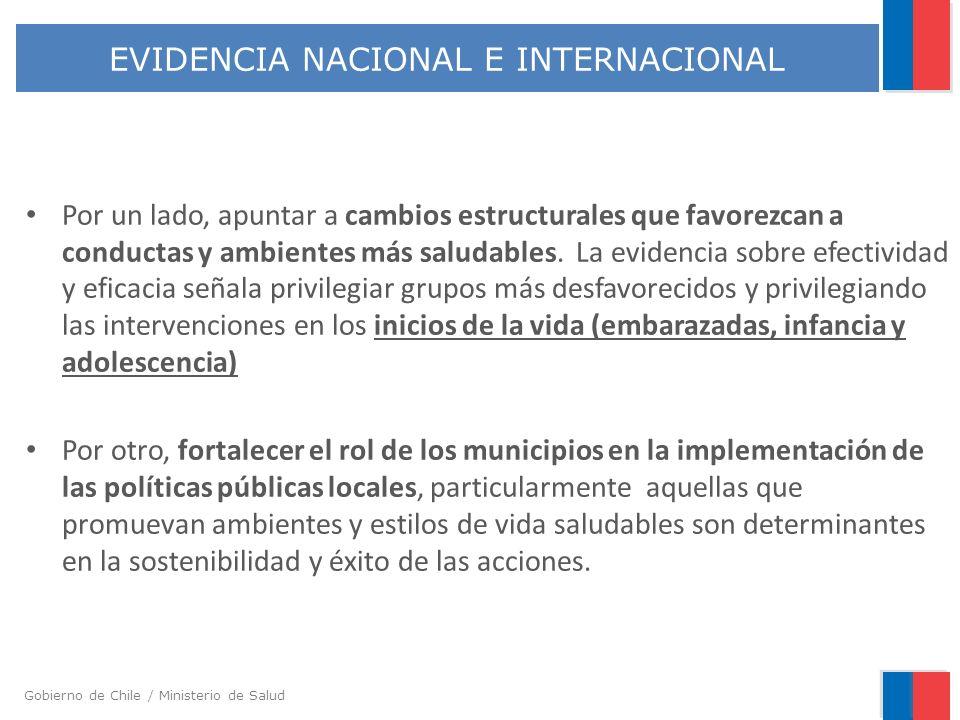 Gobierno de Chile / Ministerio de Salud Por un lado, apuntar a cambios estructurales que favorezcan a conductas y ambientes más saludables. La evidenc