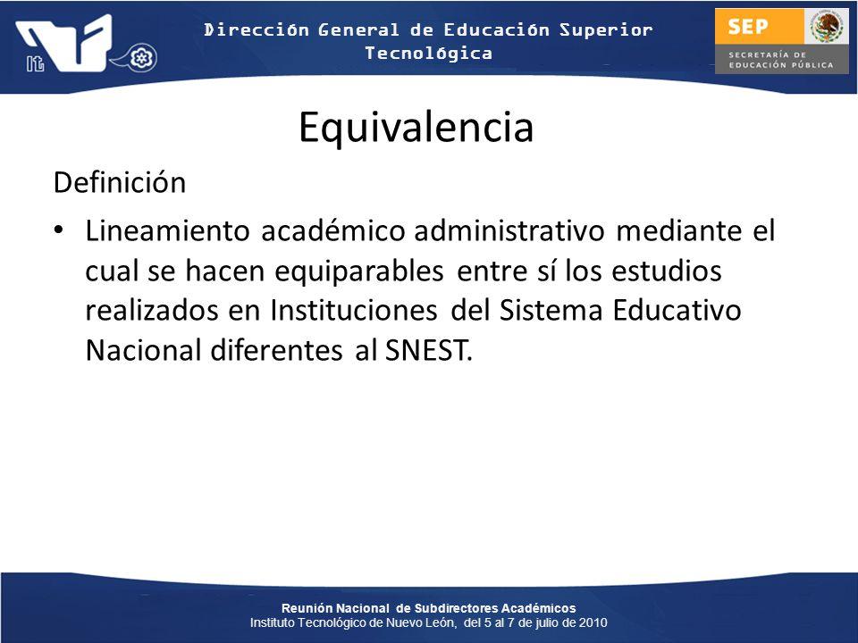 Reunión Nacional de Subdirectores Académicos Instituto Tecnológico de Nuevo León, del 5 al 7 de julio de 2010 Dirección General de Educación Superior Tecnológica Convalidación Definición.