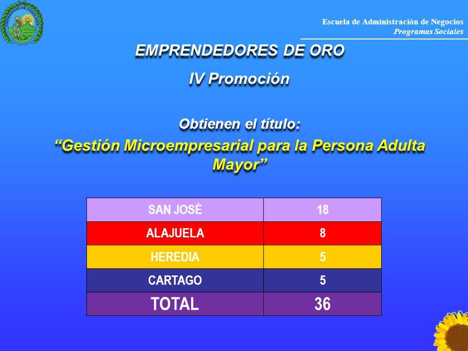 Escuela de Administración de Negocios Programas Sociales EMPRENDEDORES DE ORO IV Promoción Obtienen el título: Gestión Microempresarial para la Person