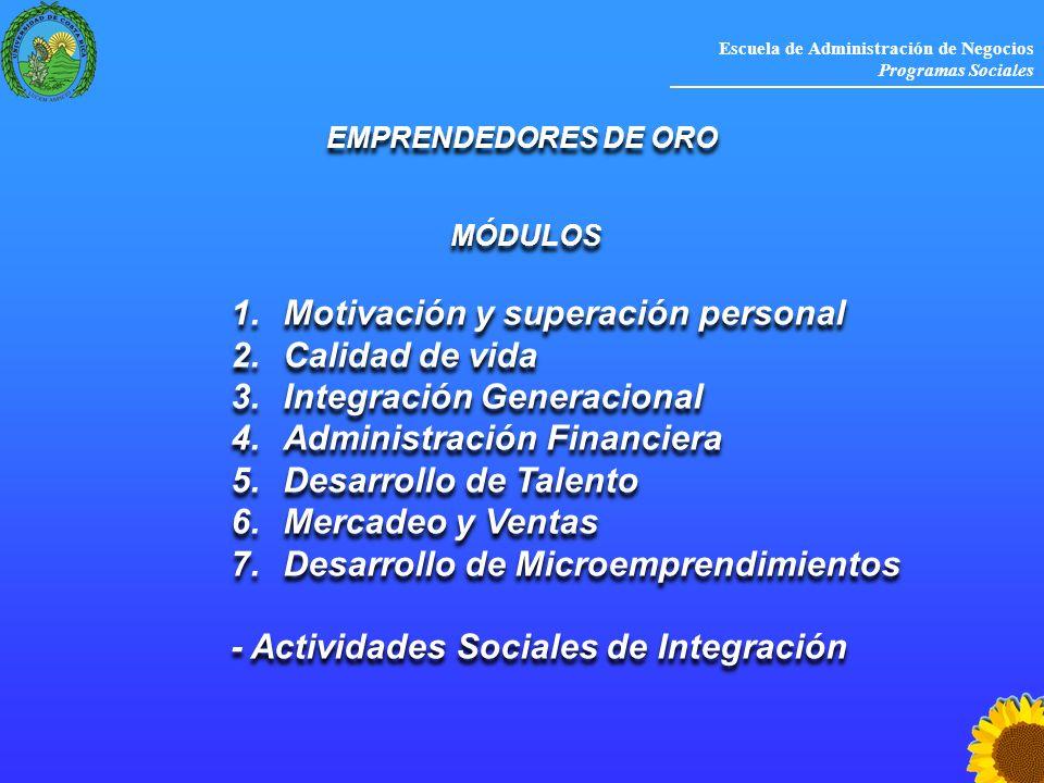 Escuela de Administración de Negocios Programas Sociales EMPRENDEDORES DE ORO MÓDULOS 1.Motivación y superación personal 2.Calidad de vida 3.Integraci