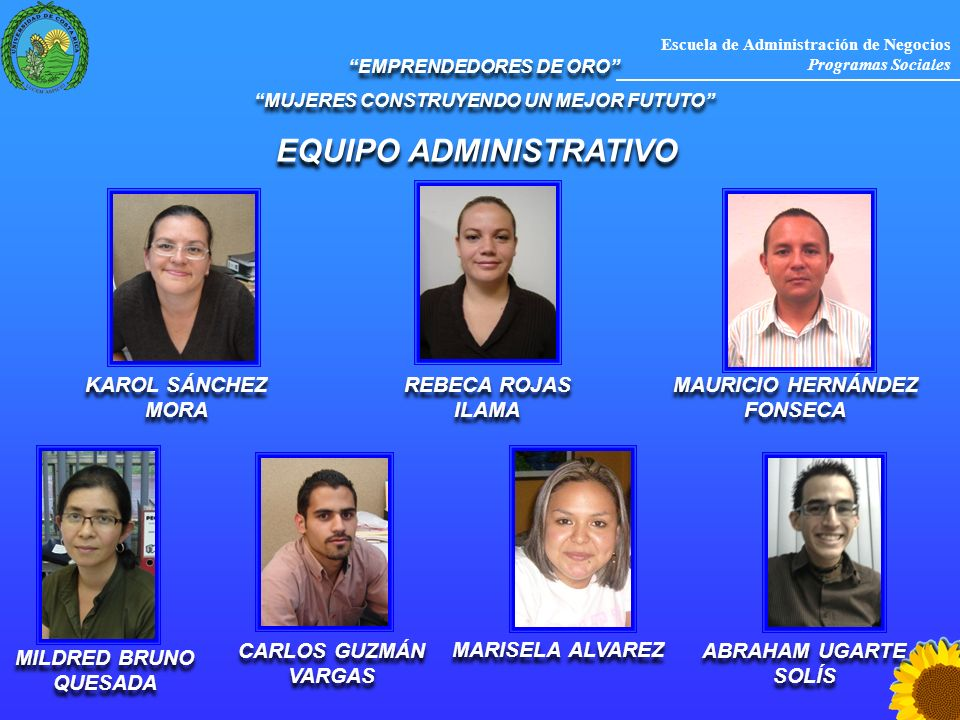 Escuela de Administración de Negocios Programas Sociales MILDRED BRUNO QUESADA EMPRENDEDORES DE ORO MUJERES CONSTRUYENDO UN MEJOR FUTUTO EMPRENDEDORES