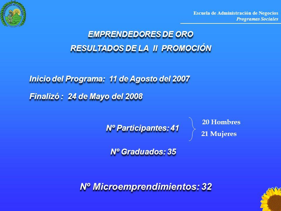 Escuela de Administración de Negocios Programas Sociales Inicio del Programa: 11 de Agosto del 2007 EMPRENDEDORES DE ORO RESULTADOS DE LA II PROMOCIÓN