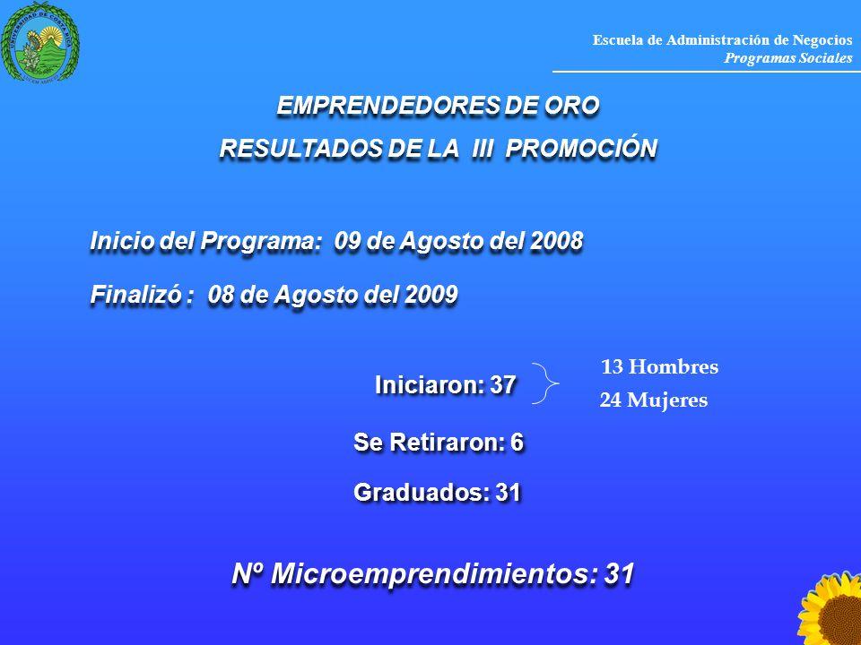 Escuela de Administración de Negocios Programas Sociales Inicio del Programa: 09 de Agosto del 2008 EMPRENDEDORES DE ORO RESULTADOS DE LA III PROMOCIÓ