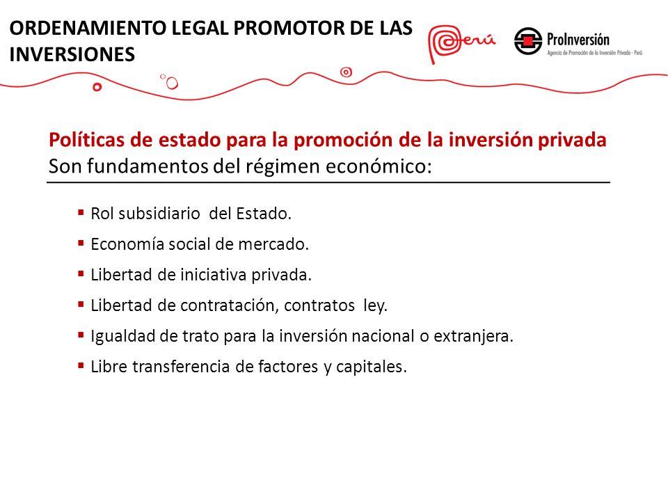 Políticas de estado para la promoción de la inversión privada Son fundamentos del régimen económico: Rol subsidiario del Estado.